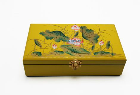 Lotus painting on the yellow surface lacquer Jewelry Box MNV-SPCC007