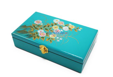 Lacquer Jewelry Box with Chrysanthemum on Blue background MNV-SPCC016-1