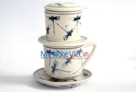 Pottery Coffee Filter with Blue Dragonfly Pattern (with saucer) MNV-CFT002/1