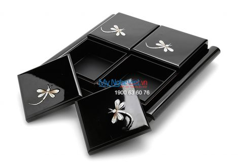 Tray with 4 containers of jam with dragonfly pattern - Gift for Tet holiday MNV-QT01