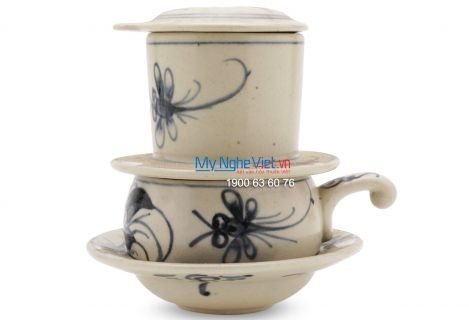 Pottery Coffee Filter with Blue Dragonfly Pattern (low) MNV-CF003/1