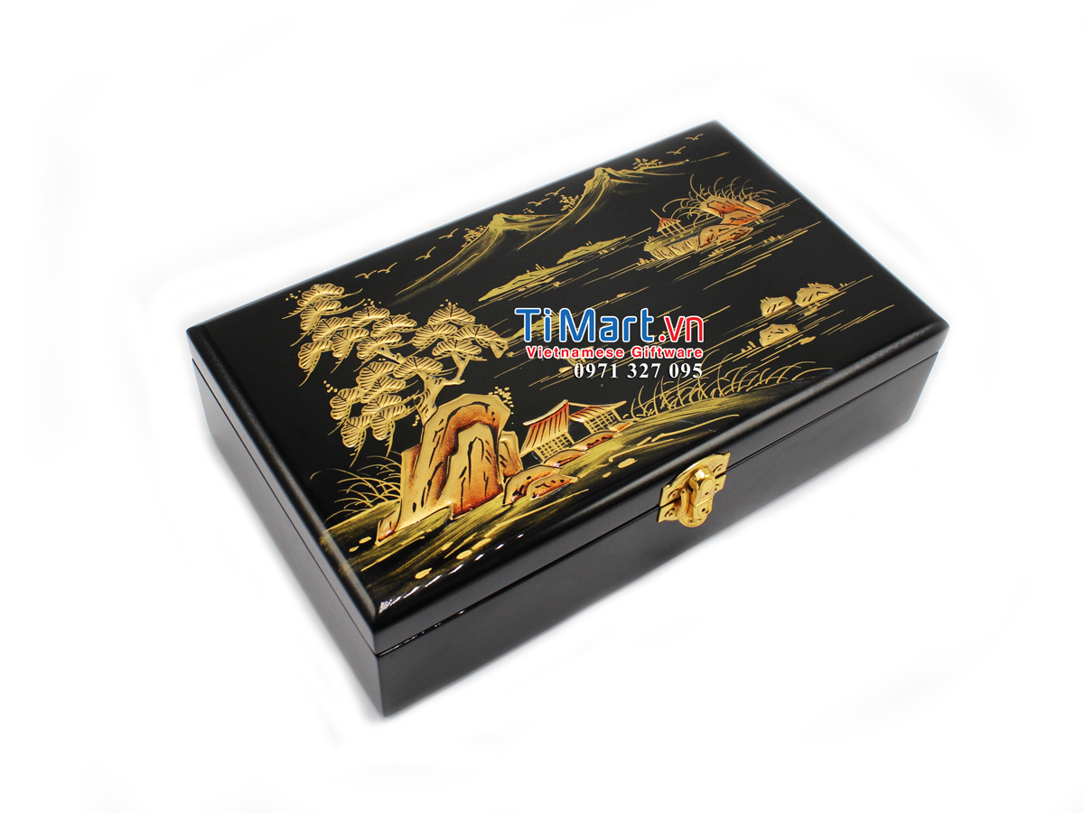 Countryside Landscape Lacquer Painting Jewellery Box MNV-SPCC002