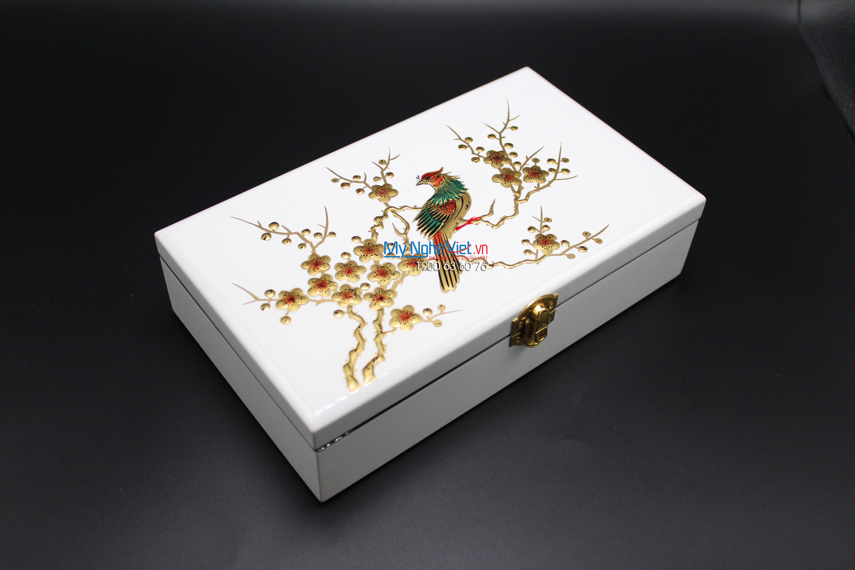 Pheasant on the Peach Branch Lacquer Painting Jewellery Box MNV-SPCC008