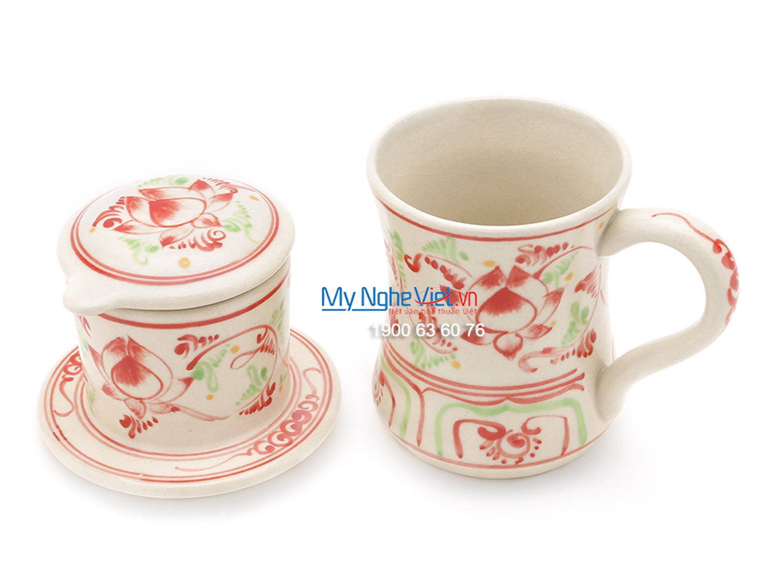 Pottery Coffee Filter with Red Lotus Flower Pattern MNV-CFC10