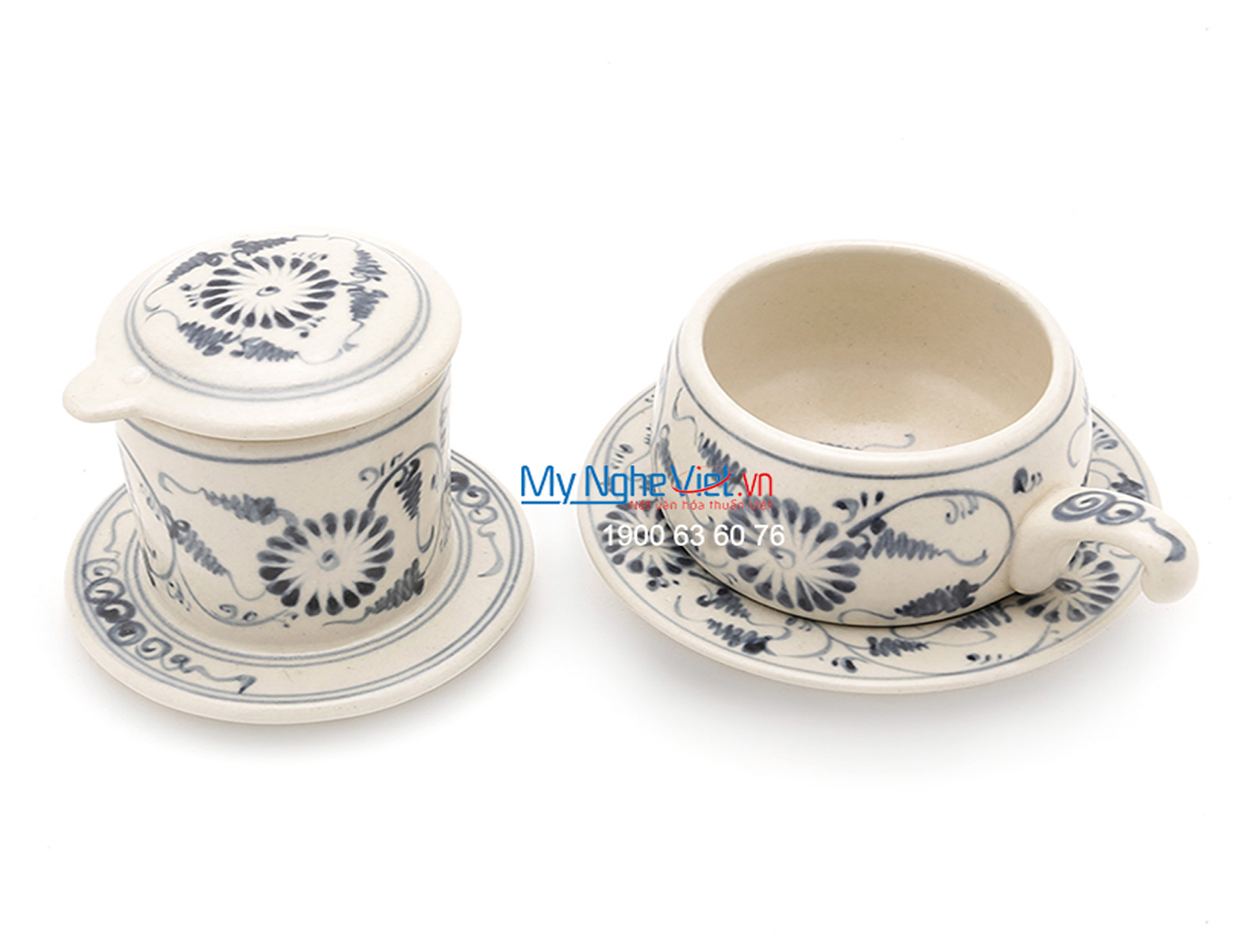 Pottery Coffee Filter with Green Chrysanthemum Pattern (low) MNV-CF005/1