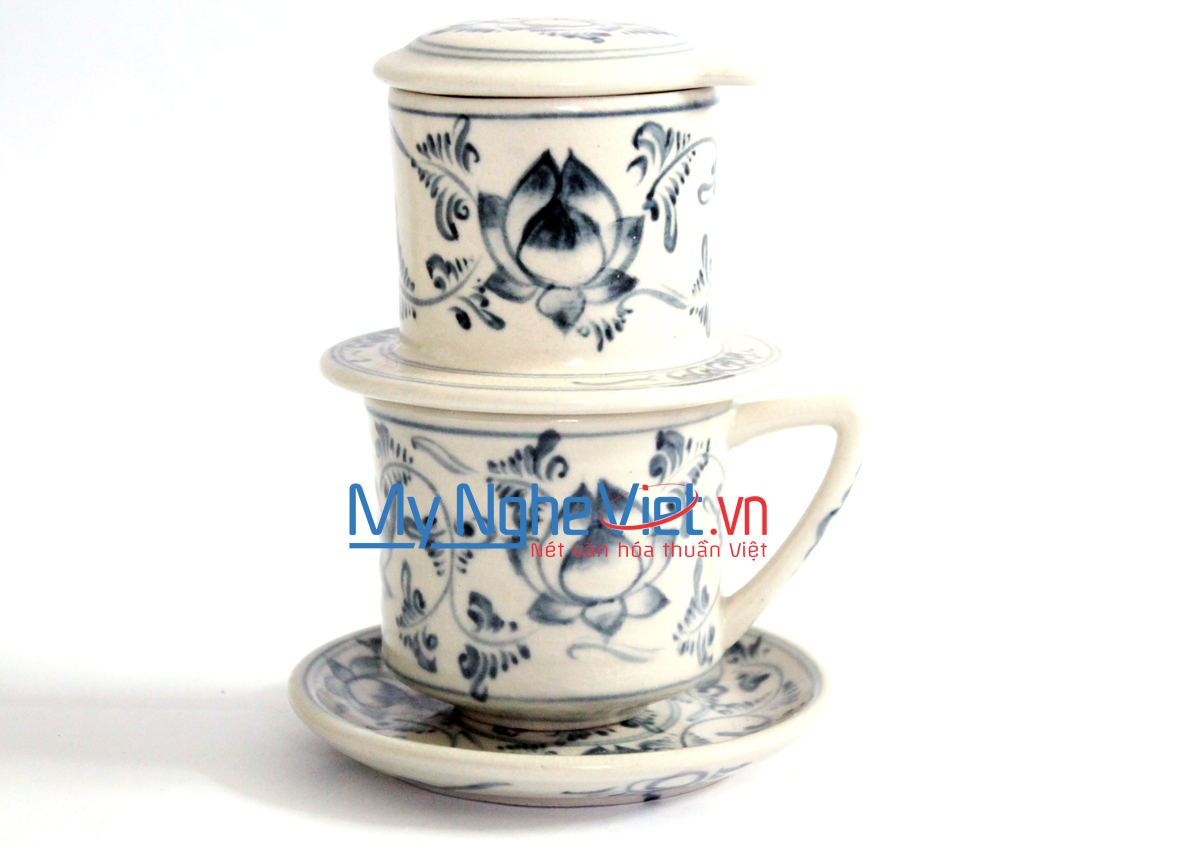 Pottery Coffee Filter with Green Lotus Flower Pattern (with saucer) MNV-CFT001