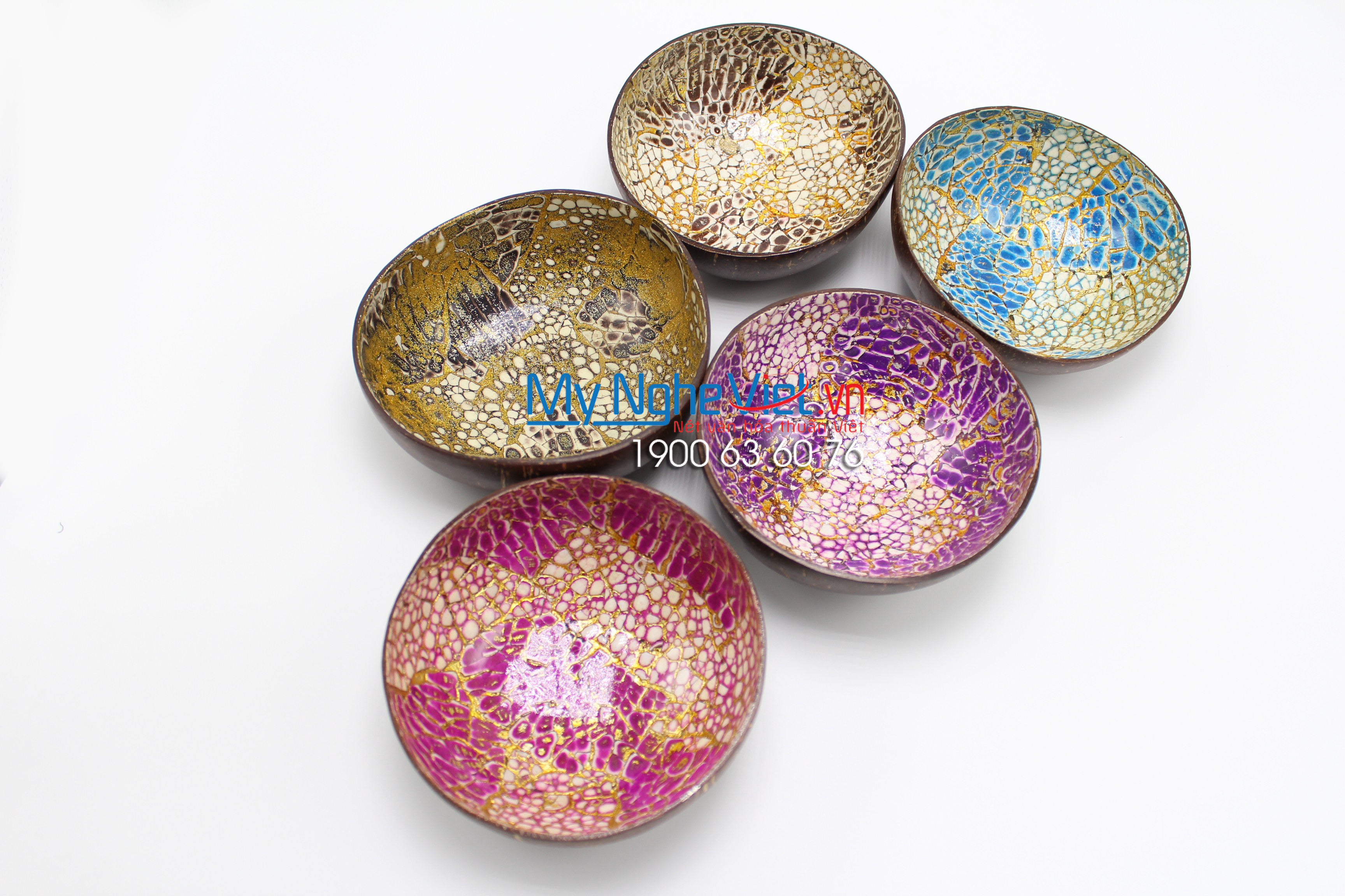 Multicolor Lacquer Painting Coconut Cup MNV-CDSM07