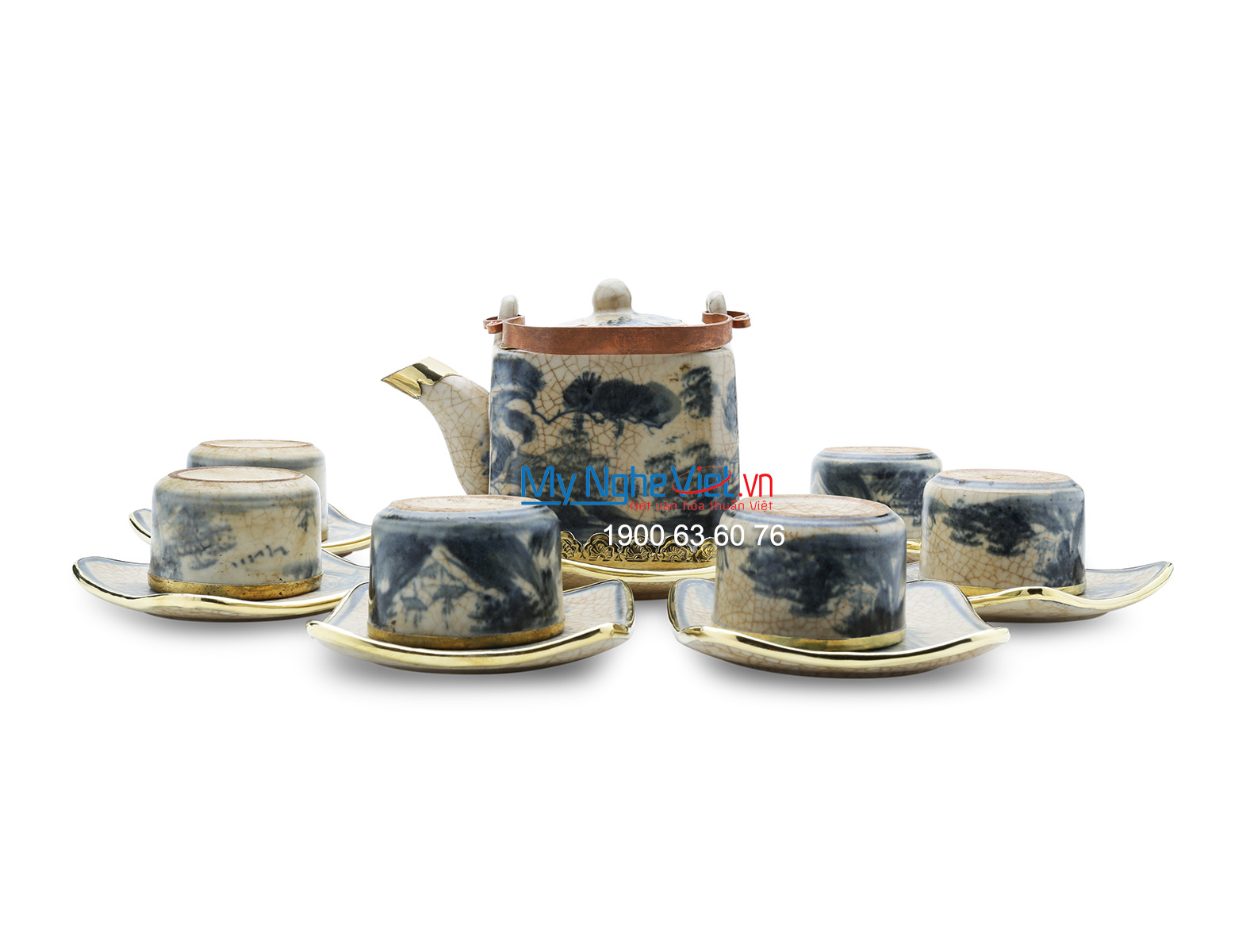 Tea set with crackle glaze and covered bronze MNV-TS159